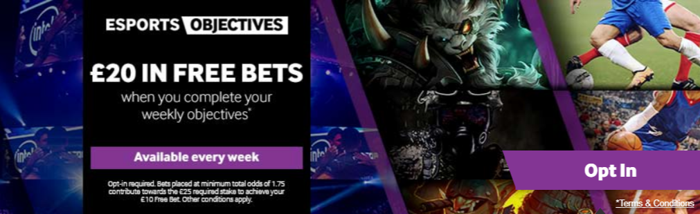Available free bets for esports.