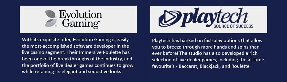 Playtech and Evolution gaming accomplishments.