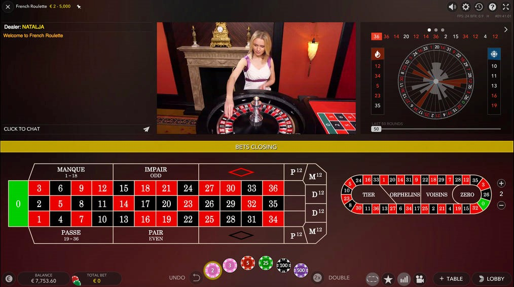 Live roulette game taking place