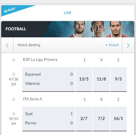 In-play odds available.