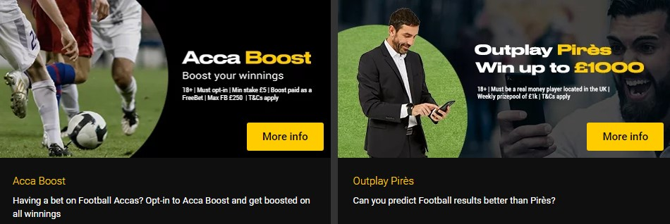 Available sports betting bonuses.