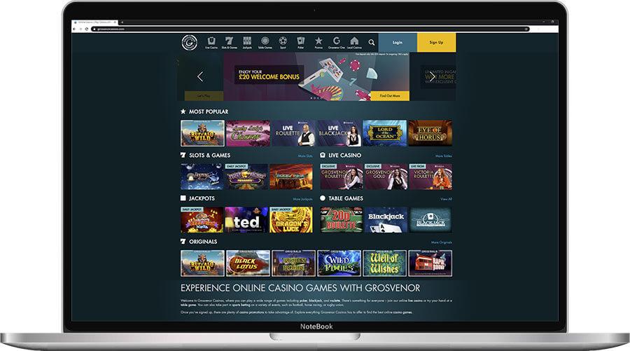 Grosvenor Online Casino Home Page