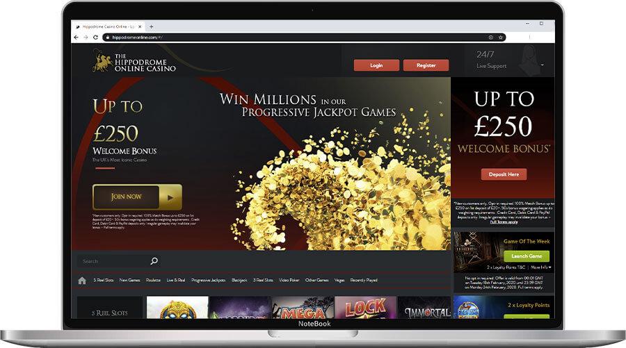 Hippodrome Online Casino Home Page
