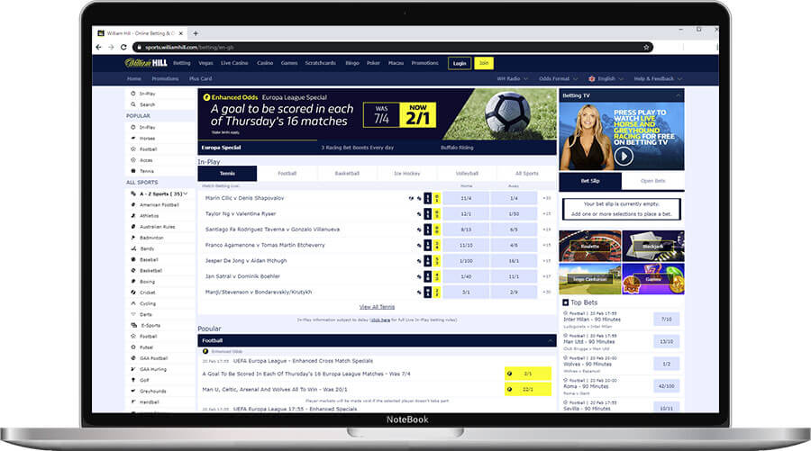 William Hill Sports Home Page